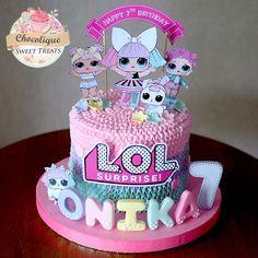 LOL Surprise Buttercream Cake for Onika Doll Birthday Cake, Funny Birthday Cakes, 5th Birthday, Surprise Cake, Surprise Birthday, Lol Doll Cake, Girl Cakes, Buttercream Cake, Cute Cakes