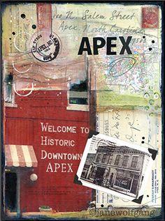 Historic Apex, NC by Jane Wolfgang Mixed Media ~ 12 x 9