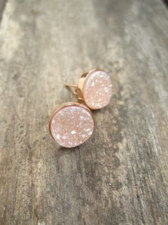 Natural Druzy Rose Gold Studs Druzy Studs Druzy by julianneblumlo