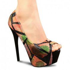 Elegant Embroidered Design High Heel Women's Peep Toed Shoes, KHAKI, 39 in Peep Toe   DressLily.com