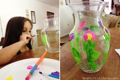 Painting vases with acrylic paint....this would be a great project for kid church then use these to put flowers out on tables.