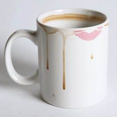 The Dirty Mug. Keep your coworkers' filthy mitts off your mug by tricking them into thinking it's already dirty. The rim of this mug is covered with realistic coffee stains and lipstick smudges and the inside contains even more coffee rings.