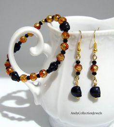 Women Halloween Set Wristband & Dangle Earrings with Black and Orange Greek Jewelry, Women Halloween, Halloween Jewelry, Dangle Earrings, Dangles, Jewelry Design, Women Jewelry, Orange, Sterling Silver