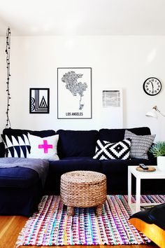 navy couch + pops of