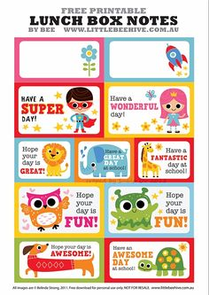 FREE Printable Lunchbox Notes from Honey Jumble { loved by cocolilyandco.com }