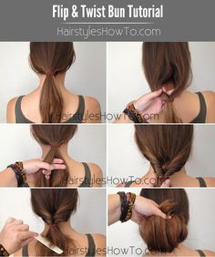 Flip & Twist Bun Hair Tutorial - How to do a really simple and chic flip & twist bun that takes less than 2 minutes to do.