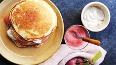 The applesauce pancakes can be kept warm in a 200 degrees oven. Healthy Egg Breakfast, Breakfast Pancakes, Pancakes And Waffles, Breakfast Time, Breakfast Recipes, Breakfast Ideas, Pancake Recipes, Breakfast Casserole, Martha Stewart Pancakes