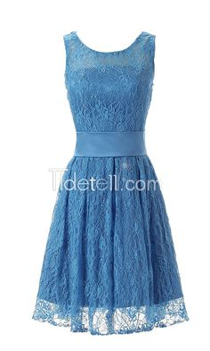 Hot A-line Lace Scoop Knee Length Bridesmaid Dresses Sash Homecoming Dresses
