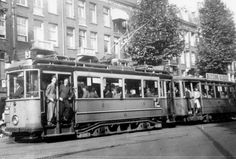 """Tram route """"Lijn at the Ceintuurbaan in Amsterdam. Amsterdam Holland, New Amsterdam, Trains, Life Goes On, Old Pictures, Netherlands, Dutch, Transportation, Around The Worlds"""