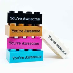 Nothing trick here, we're all treat! We recon this year has been scary enough. So here's a little treat for you: You're awesome. . . . Also, custom printed LEGO bricks here, . But mostly: You're awesome. Lego Brick, You're Awesome, Bricks, Scary, Create Your Own, Print Design, Printed, Mini, Gifts