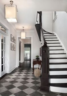 Stair Hall with Checkered Stone Floor and Painted Balustrade Gallery Hallway Foyer Staircase Colonial Traditional by Randall Architects, Inc Foyer Staircase, Stairs, Foyer Paint Colors, Tiled Hallway, Tile Entryway, Entry Tile, Checkered Floors, Hallway Flooring, Foyer Lighting