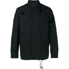 Uniform Experiment Uniform Experiment Multi-Patch Field Jacket ($265) ❤ liked on Polyvore featuring men's fashion, men's clothing, men's outerwear, men's jackets, black and mens utility jacket
