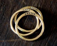 14k Gold Filled Personalized Rings  Set of 3 by monkeysalwayslook monkeys always look