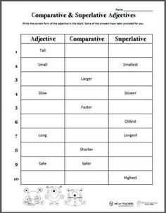 Comparative and Superlative Adjectives preview