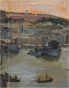 #Charles #Cundall #Royal #naval vessels in #harbour  #Gouache on tracing paper mounted on #paper  #war #art #modern #painting #LLFA #Britishart Gouache, War, Gallery, Modern, Painting, Painting Art, Trendy Tree, Roof Rack, Paintings