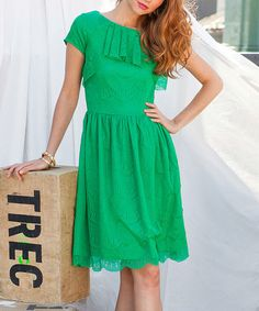 This Green Lace Ruffle Fit & Flare Dress by Shabby Apple is perfect! #zulilyfinds