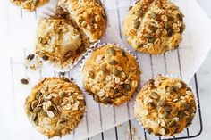 Pumpkin seeds and chia seeds add the super in these healthy muffins. Freeze and pack into lunch boxes for healthy, eat-later snacks.