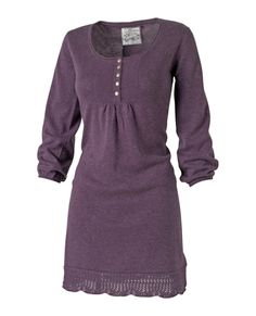 Soft knit tunic dress with metal button detail, crochet hem and gathered cuffs for a great sleeve shape. Devier.