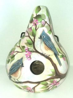 Titmouse Bird with Cherry Blossoms Gourd Birdhouse - Hand Painted Gourd Hand Painted Gourds, Hand Painted Ornaments, Titmouse Bird, Gourds Birdhouse, Bird Houses Painted, Different Birds, Easter Tree, Goldfinch, Star Ornament