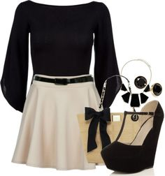 """Untitled #1188"" by alexross on Polyvore  OOOh perfect for a night out c:  #black and white #wedges"