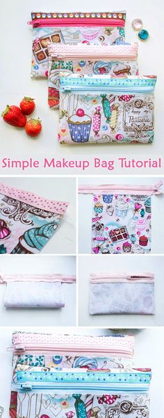 very simple makeup bag for beginners. A very simple makeup bag for beginners. Step by step illustration tutorial.A very simple makeup bag for beginners. Step by step illustration tutorial. Bag Sewing, Love Sewing, Sewing Hacks, Sewing Tutorials, Sewing Tips, Sewing Ideas, Makeup Bag Tutorials, Diy Pochette, Costura Diy