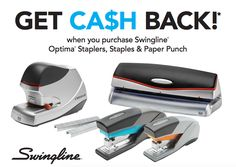Earn up to a $100 Visa Gift Card when you purchase Swingline Optima Staplers, Staples & Paper Punch #rebate