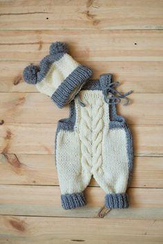 Hand knit baby romper grey cream romper newborn gift knitted baby photo prop romper with hat 3-4 months baby overalls onward onward