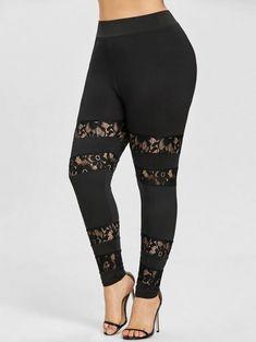 c51cf25301238 Plus Size Ankle Leggings with Lace Panel - BLACK 4XL Women's Leggings,  Thick Leggings,