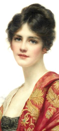 Esme - detail - 1919 - Painting by William Clarke Wontner (British, 1857-1930) - Oil on canvas - 63.5x 53.5cm. - Private collection, UK - @~ Mlle