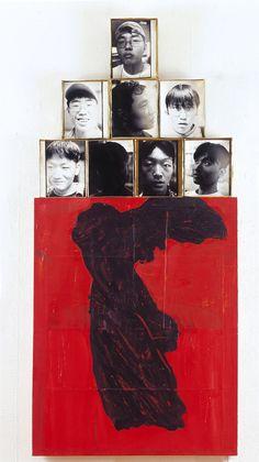 Gods. 196 x 91cm.    photos, metal box, acrylic on paper n canvas.  2000