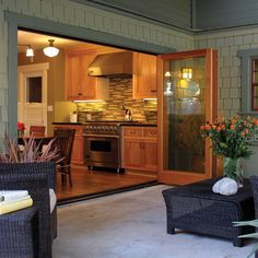 Sliding Walls Design Ideas, Pictures, Remodel, and Decor - page 9  - replace french doors for deck entrance to back deck