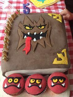 Nexo cake and globlin cupcakes