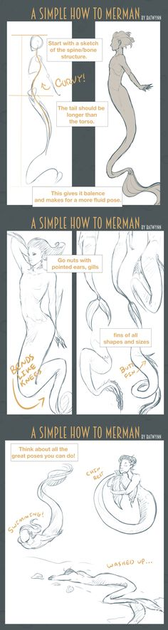How to Draw Merpeople by Batwynn.deviantart.com on @DeviantArt
