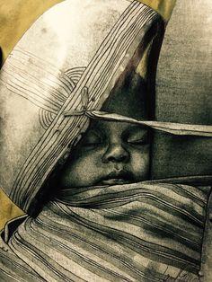 Titolo: Sognando Mungu  Non succede mai niente nel mondo... non esistono momenti banali  Formato A4 eseguito a matita, penna ed acquerello.