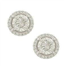 4 prong Round Diamond Er w Pave Diamond Trim Round Diamonds, Bangles, Engagement Rings, Earrings, Top, Jewelry, Bracelets, Enagement Rings, Ear Rings