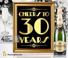 Cheers To 30 Years Printable Sign 30th Birthday by PearGraphixCom