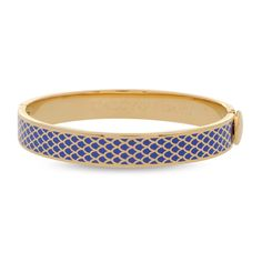 £115 Salamander Cobalt & Gold Hinged Bangle | Halcyon Days