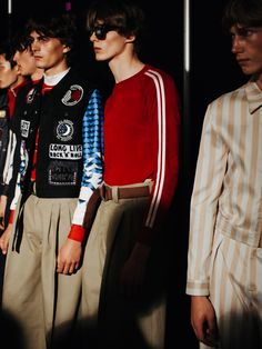 Northern Soul vibes at Topman SS16 LCM.; detail, jacket, patches, decoration, lines, color, sunglasses