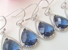 Set of 4 Silver Sapphire Blue Bridesmaid Earrings by Crystalshadow