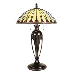 This Elstead Tiffany Alahambre Table Lamp is has softly arched brass wire arms suspended over cream-coloured opalescent glass with wine accents gives this cone shaped shade the