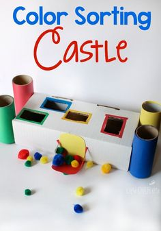 This color sorting castle for preschoolers is great for fine-motor skills and matching colors! Your kid will have so much fun learning and sorting their colors! Try this great preschool activity! Sorting Activities, Preschool Learning Activities, Color Activities, Toddler Preschool, Preschool Activities, Gruffalo Activities, Montessori Toddler, Early Learning, Fun Learning