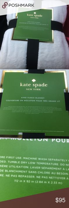 New Kate Spade Soft Fleece Blanket White King Size Brand new with tags! Super soft and plush. Department store high quality. Size is 112 in x 92 in. kate spade Accessories