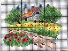 Boa noite!!! Que bom estar de volta! O post de hoje será, mais uma vez, dedicado ao ponto cruz. Amo esse ponto, o aprendi na adolescênci... Cross Stitch House, Mini Cross Stitch, Cross Stitch Flowers, Cross Stitch Kits, Cross Stitch Charts, Cross Stitch Designs, Cross Stitch Patterns, Cross Stitching, Cross Stitch Embroidery