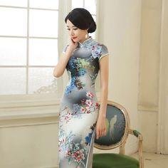 aaf55452a New Hot Sale Gray Rayon Handmade Button Mandarin Collar Cheongsam Chinese  Vintage Print Qipao Flower Sexy Long Dress S 3XL C0126-in Cheongsams from  Novelty ...
