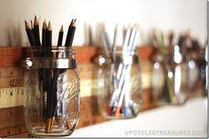 Vintage Yardstick Mason Jars organization storage tutorial