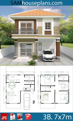 House Plans with 3 Bedrooms - Sam House Plans Simple House Plans, Simple House Design, House Front Design, Dream House Plans, Modern House Design, House Floor Plans, 2 Storey House Design, Bungalow House Design, Drawing House Plans
