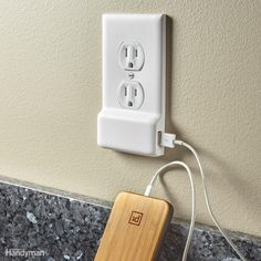 This outlet cover plate with a built-in USB charger is as easy to install as a regular cover plate. You just shut down the power, unscrew the old plate and screw on the new one. No receptacle replacement required! The USB port gets its power from two prongs that contact the screws on the sides of the receptacle.