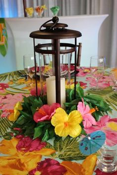 See more bridal shower themes and party… (hawaiian luau party centerpieces) Aloha Party, Luau Theme Party, Party Fiesta, Hawaiian Luau Party, Hawaiian Birthday, Luau Birthday, Tiki Party, Hawaiian Theme, Beach Party