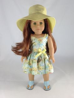 18T Sweet and Sassy - Dress, Hat and Sandals for American Girl Like Lea, Grace Thomas, Isabelle, McKenna, Saige, Julie,  Kit and Rebecca by MjsDollBoutique18T on Etsy