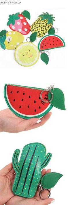 [Visit to Buy]  Cute Fruit Pattern Coin Purse PU Leather Wallet Women Mini Purse Keyring Womens' Pouch Girls Zipper Change Wallet Card Holders #Advertisement